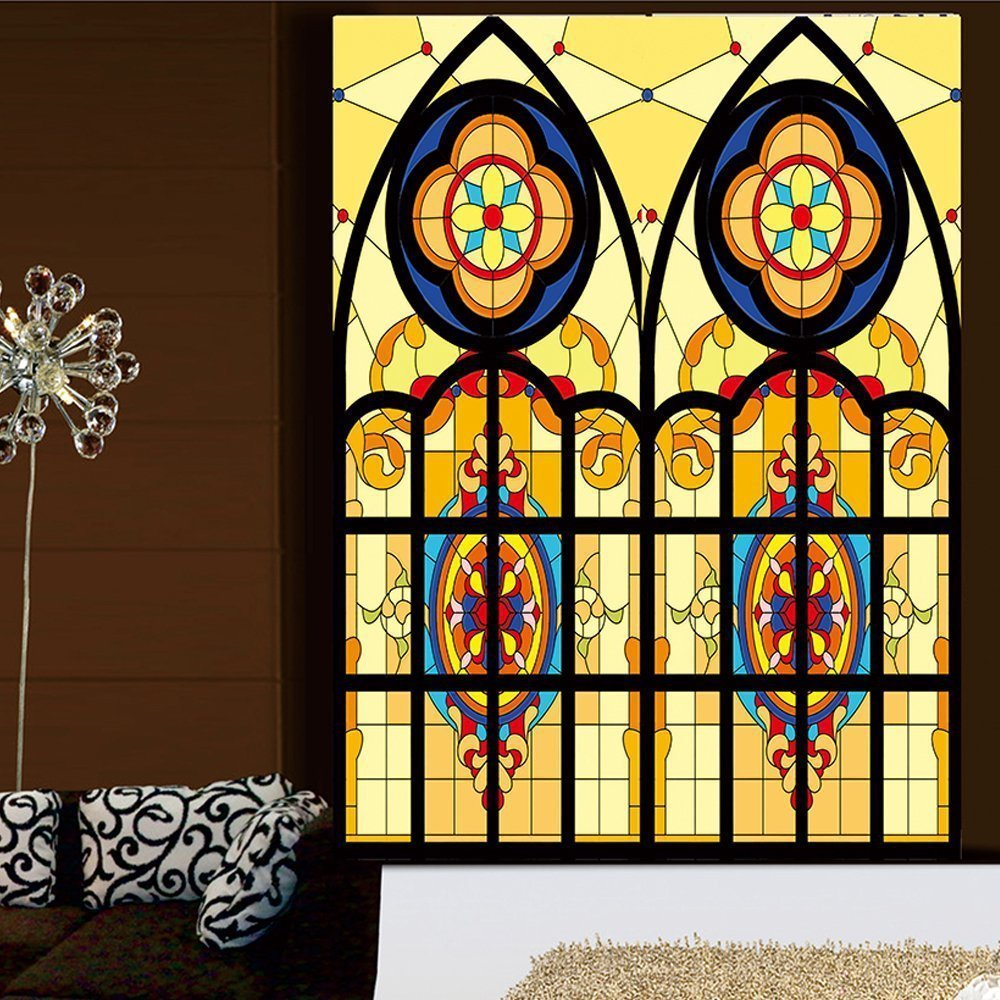 """OstepDecor Custom Translucent Non-Adhesive Frosted Stained Glass Window Films 18"""" W x 36"""" H (One Panel)"""