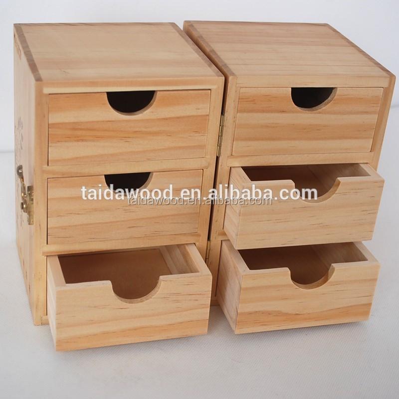 Brown Wood 4 Drawer Office Desk Organizer Dresser Top Jewelry