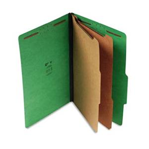 S J Paper S61401 S J Paper Expanding Classification Folder, Lgl, 6-Section, Emerald Green, 15/Box