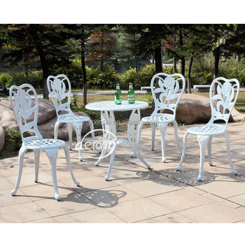 European Garden Cast Aluminum Bistro Table And Chairs Luxury Rose