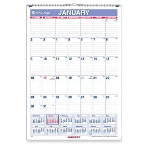 "At-A-Glance Monthly Wall Calendar, Jan-Dec,1 Ppm,15-1/2""X22-3/4"",Be/We - At-A-Glance Monthly Wall Calendar, Jan-Dec,1 Ppm,15-1/2""X22-3/4"",Be/Wemonthly Wall Calendar Offers A View Of The Entire Year T"