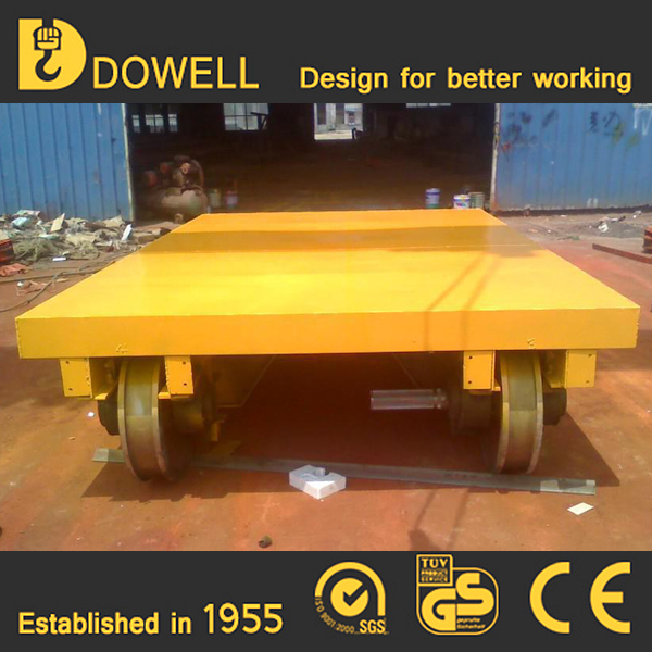 Remote control steel plant battery operated bay to bay flat electric rail transfer cart