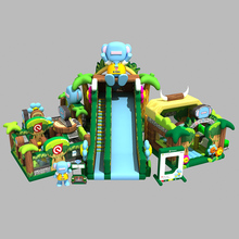 Jungle theme inflatable castle slide trampoline combo for entertainment