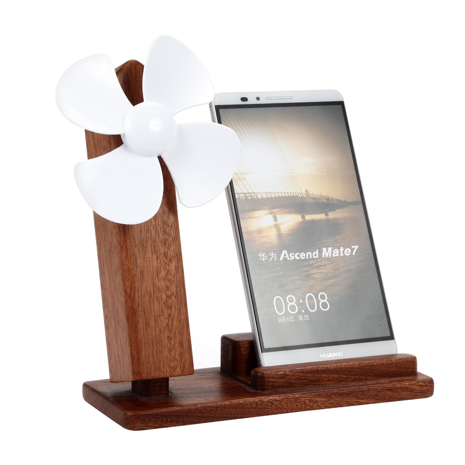 Wood Phone Stand USB Fan, Beeiee Universal Wood Phone Stand Holder with USB Fan,Adjustable Wind Direction for iPhone,Samsung Galaxy,and other Android Mobiles (Dark Brown)