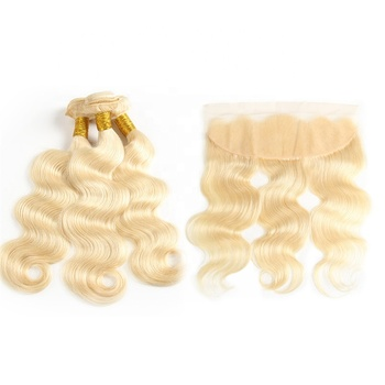 Russian free sample raw wefted human hair extensions curly lace closure 613 blonde bundles with frontal