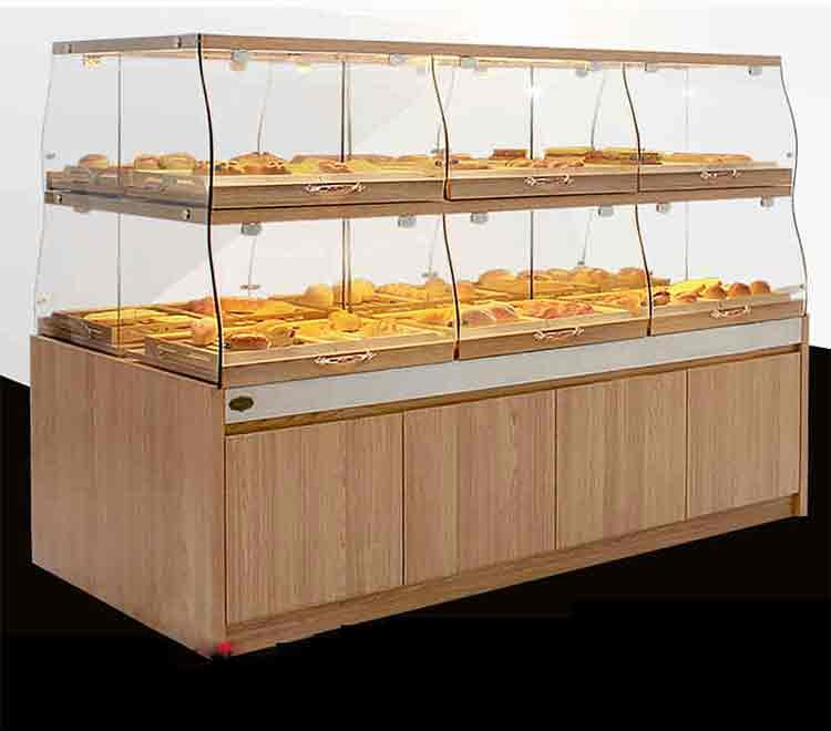Customized Wooden Glass Bread Chocolate Display Showcase Rack ...