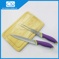 New Design 3pcs Stainless Steel Carving Knife Set With Wooden Chopping Board