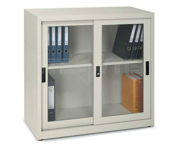 White Steel File Cabinet With Glass Doors / Flat Packing Metal ...
