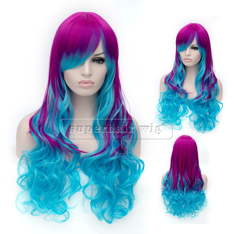 Get Quotations · Colorful Cheap Wig beautiful charming cosplay wig Long  body wavy ombre purple blue wig Synthetic Hair 36d62f4d6