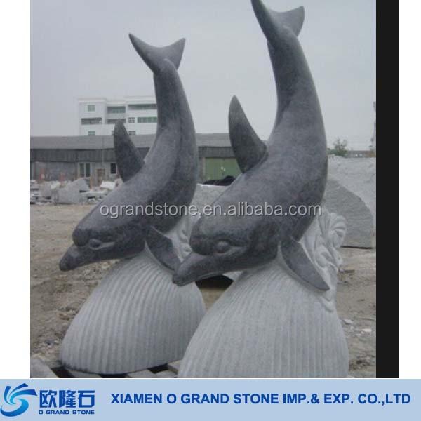 Outdoor Stone Garden Ornaments Dolphin Statues Sculpture