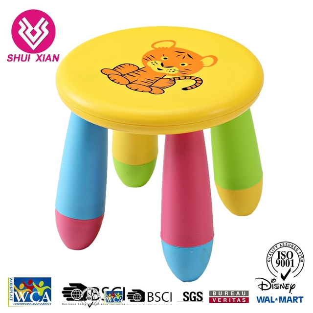 Wholesale Plastic Stacking Stools Round 4 Leg Stool With Cartoon Pictures