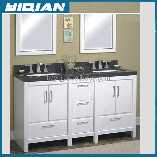 Providence Urban white 60'' double ceramic basin Plywood vanity cabinet with three hole