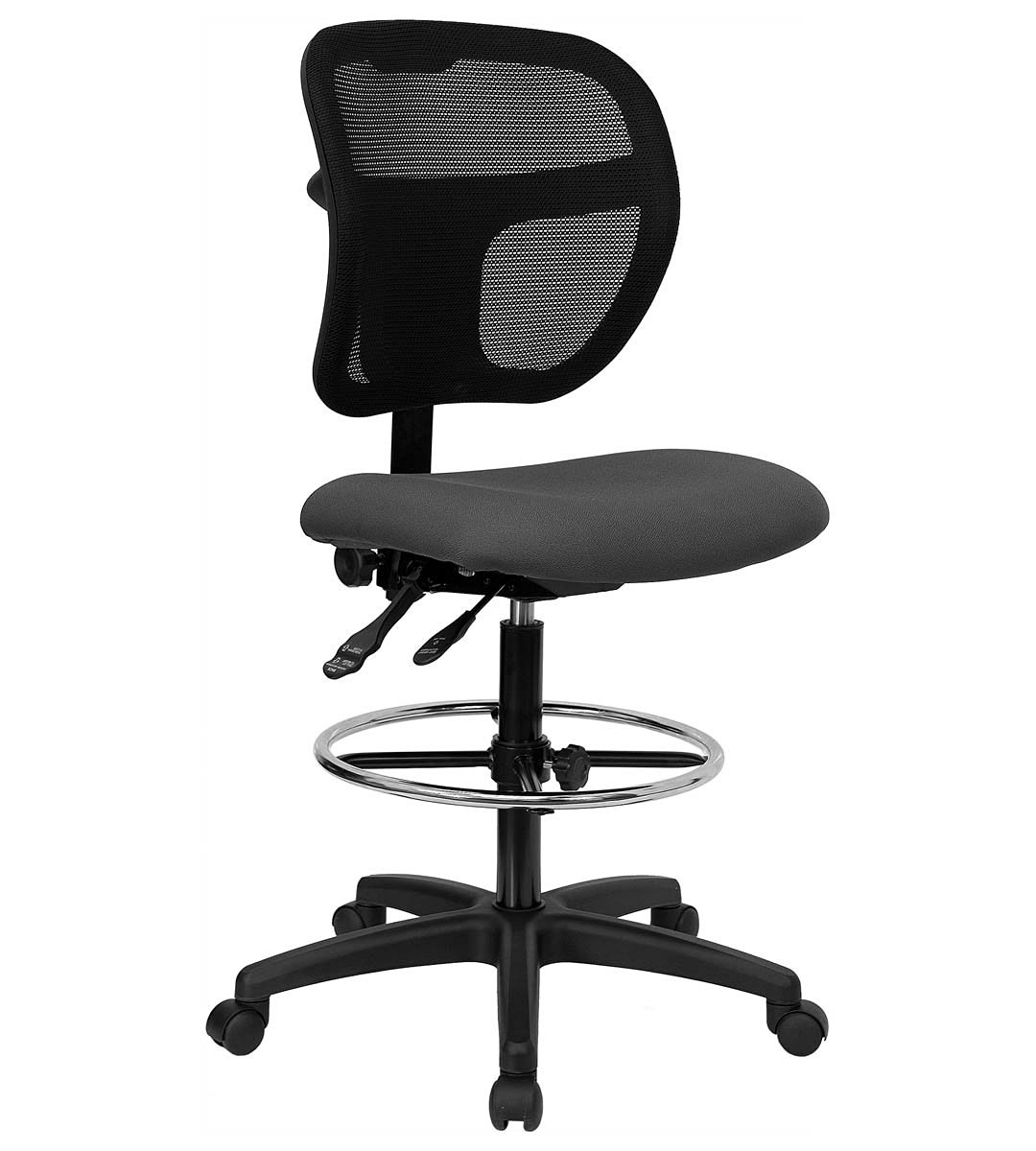 Mid-Back Mesh Drafting Stool with Gray Fabric Seat
