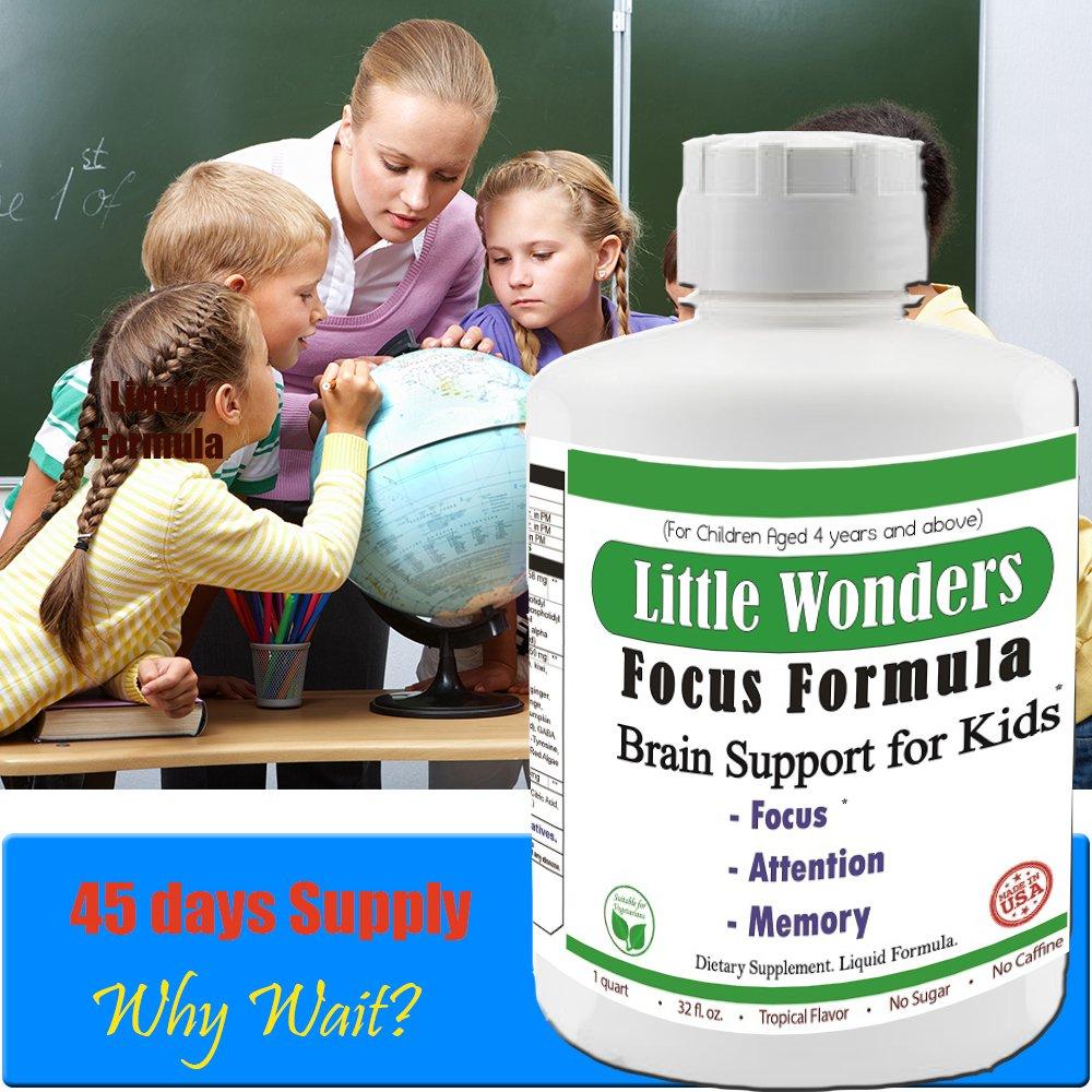 Brain Focus Formula Nutritional Supplement For Kids, Focus, Attention, Brain Support #1 NON STIMULANT, NON-HABIT FORMING, NON ADDICTIVE BRAIN FOCUS FORMULA FOR KIDS 45 Days Supply Lowest Price