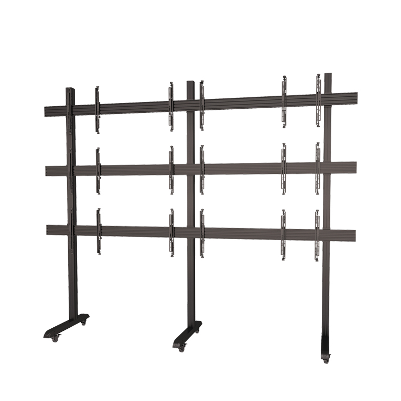 Support Multi Screens 65 Inch Metal Legs Mobile TV Stand With Micro Adjustment Arms