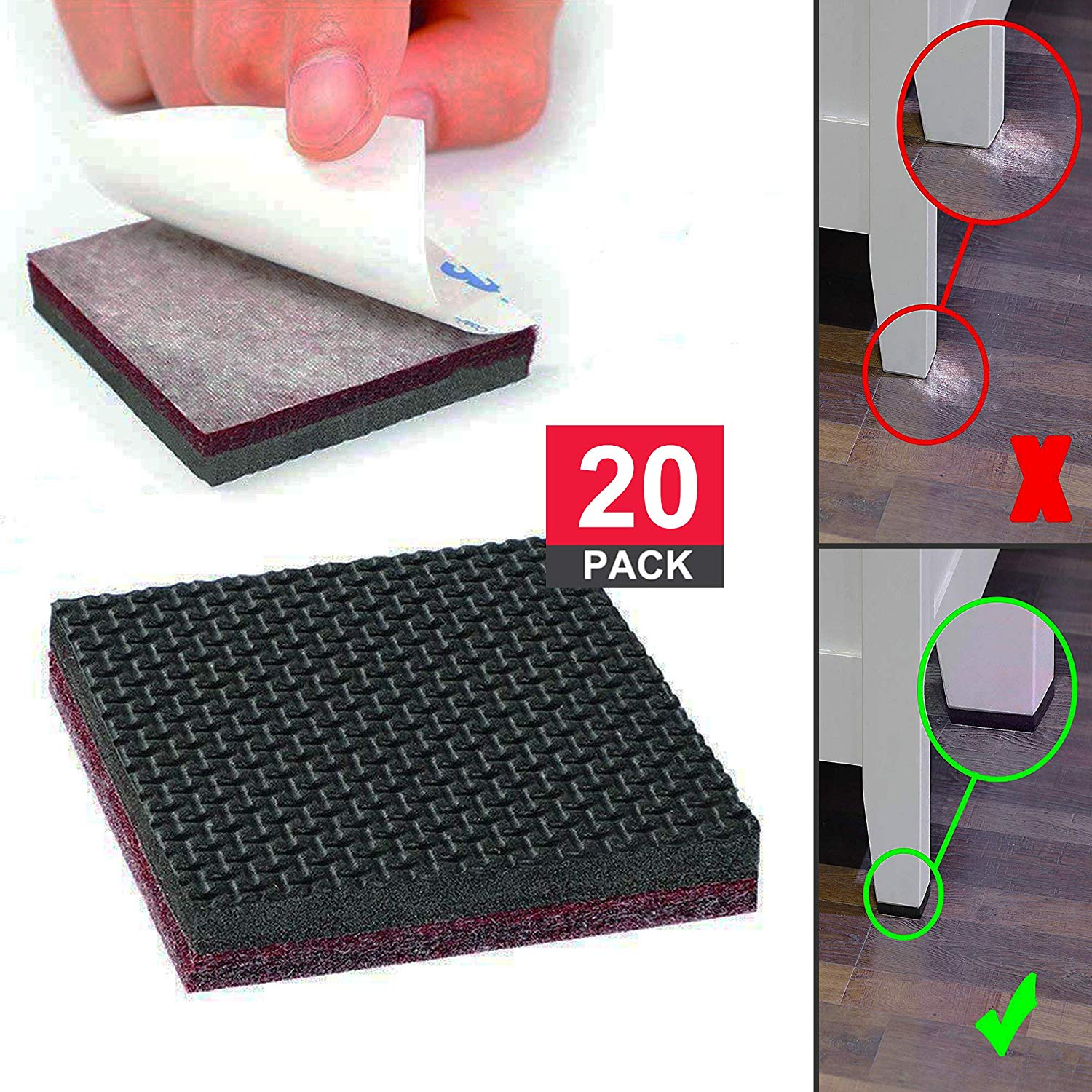 Non Slip Furniture Pads: Chair Leg Floor Protectors, Self Adhesive Furniture Grippers for Hardwood Floor, Combined of Rubber and Felt Pads for Furniture, 20 PCs of Square by Volarium