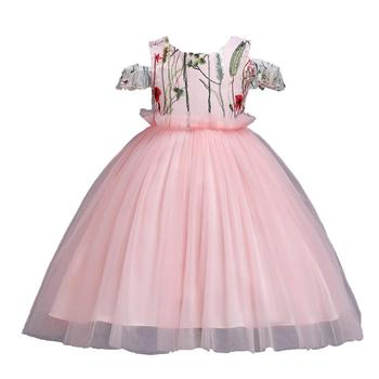 BH057 Flower Girl Dress Lace Ball Gown Children Embroidery Elegant Christmas Evening Dresses Kid Frock Design Dor Baby Girls