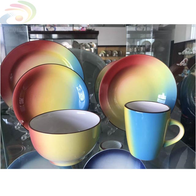 hot sale popular color glaze kitchen cutlery, unbreakable color glaze tableware, color glaze dinner sets ceramic