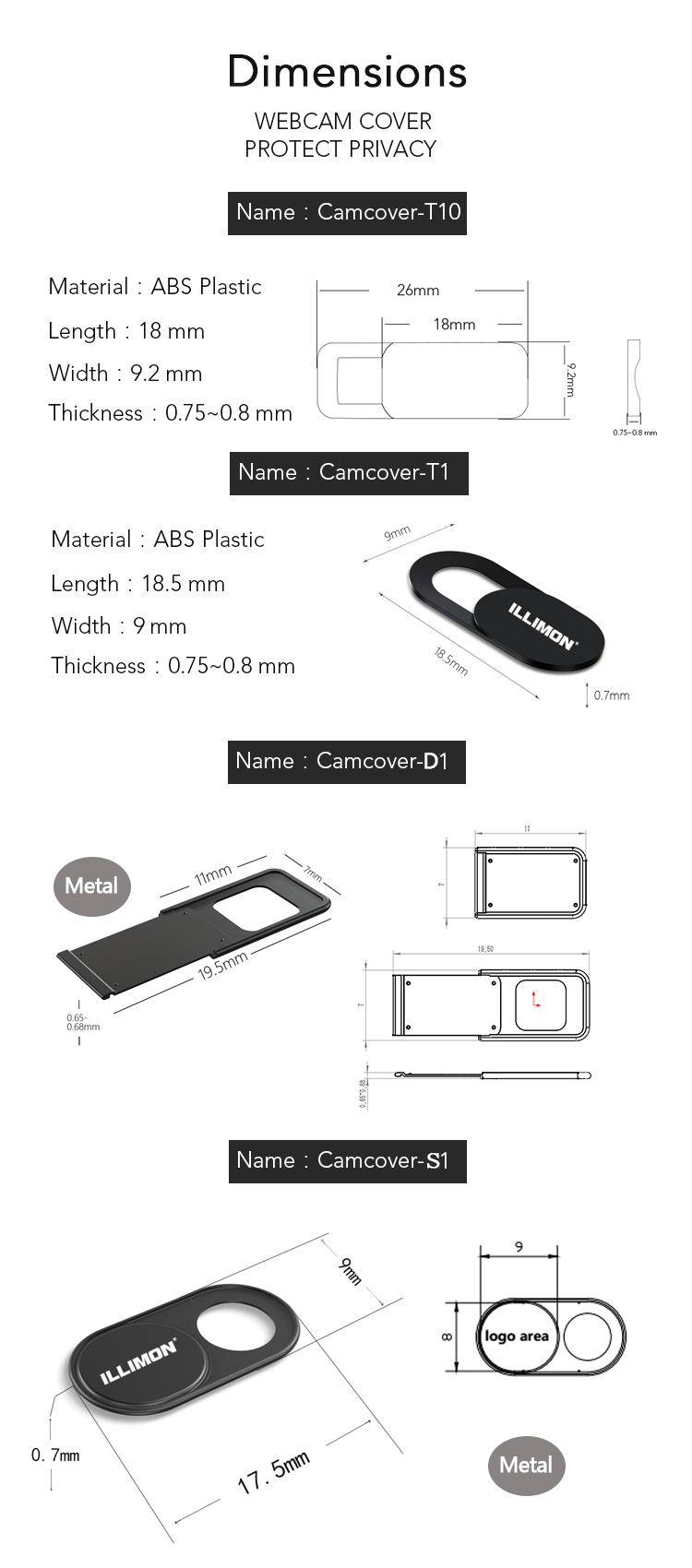 New models of webcam cover T9 for Laptop, Computer, Imac, Macbook Pro, Cell Phone