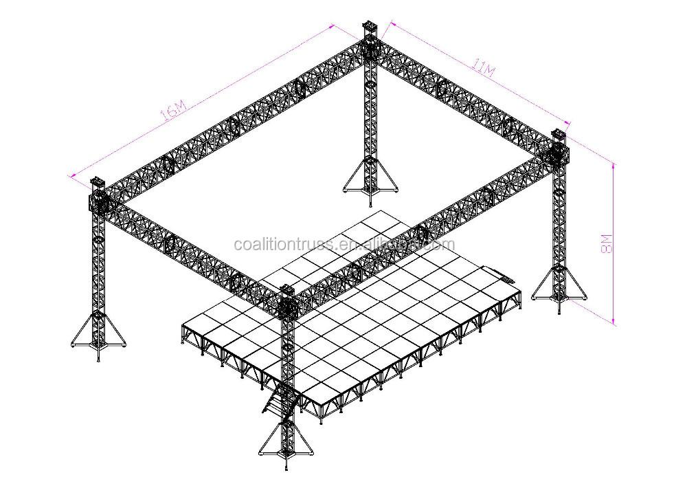 Aluminum Curved Lift Truss System For Hanging Speaker
