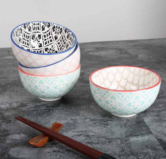 Japanese style ceramic dessert bowl,hand-painted ceramic rice bowl,glazed soup bowl.