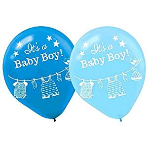 "Amscan Lovely Shower with Love Boy Latex Baby Shower Party Balloons Décor (15 Piece), 12"", Blue/Light Blue"
