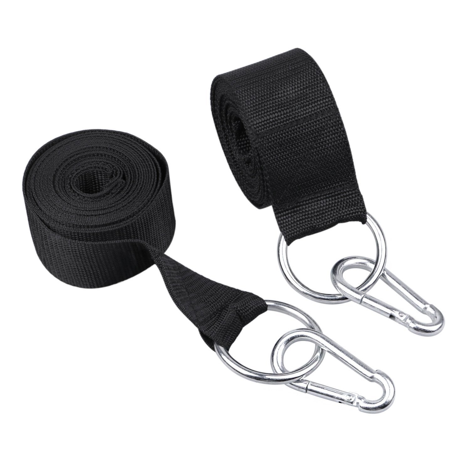 Hammock Tree Straps, Golo Black XL Adjustable Non-Stretch Extra Strong Suspension Camping Hammocks Hanging Strap Set with Heavy Duty Hooks Carrying Pouch for Camping, Hiking and Backyard Fun(2 Pack)