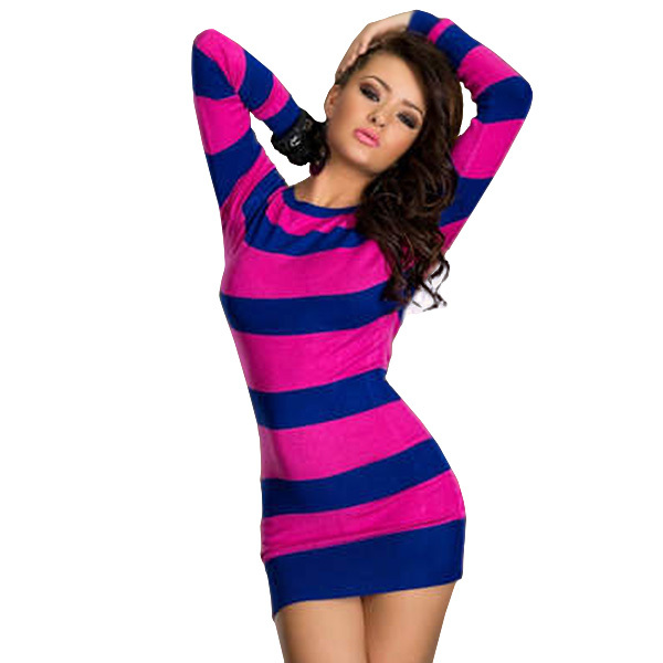 dd908086f7c4d Buy Casual Long Sleeve Dresses Free Shipping ML17731 Cotton Striped Sexy  Club Short Dress Vestidos Fashion Women Party Winter Dress in Cheap Price  on ...