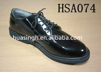 black high gloss leather US style men gender uniform army dress shoes