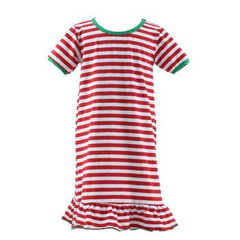 9ed63214f0 wholesale cotton nightgown baby Christmas stripe nighty long sleeve dress  Christmas nightgown