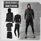 Men's Running Fitness Clothes Long Sleeve Gym Sports Suits Quick Dry Yoga Tights Three Piece Suit