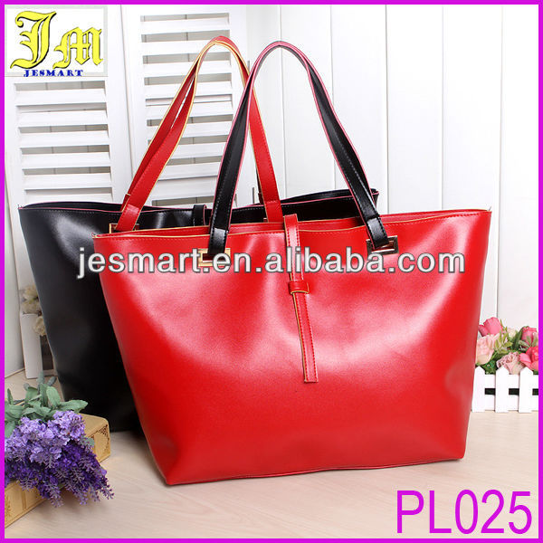 Cheap Simple Design Bright Color Leather Handbag Ladies Free Shipping Accept Paypal