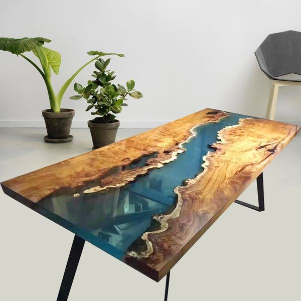 Water Clear Epoxy Resin for Home Design Wood River Table