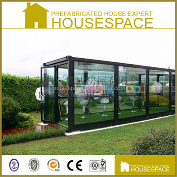 Flat pack modular prefabricated glass house buy for Prefab glass house prices