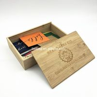Custom Engraving Logo Slide Lid Gift Packaging Bamboo Wooden Box
