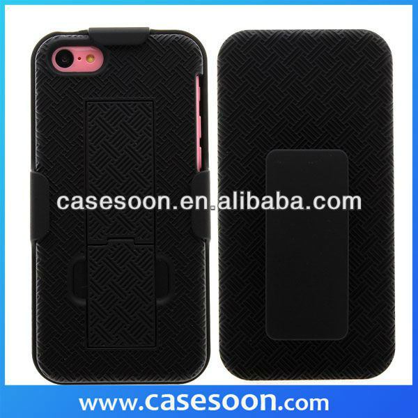 Rubber Holster Case For iPhone 5C With Belt Clip+Stand,For iPhone 5C holster case,For 5C Hybird case
