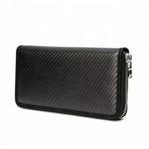 large capacity leather RFID blocking purse carbon fiber long zipper wallet for corporate gifts