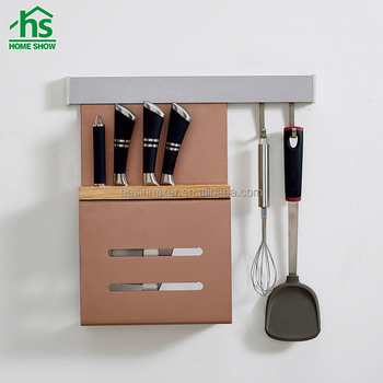 Kitchen Accessories Wall Mount Rose Gold Color Kitchen Knife Rack