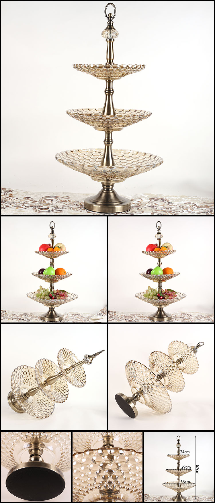2493 commercial activity wedding decoration tray glass 3 tiers fruit tray