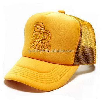 d08cd7bcc63 5 Panels Embroidery Short Bill Foam Plain Trucker Cap Mesh Hat - Buy Trucker  Cap