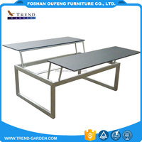 Alibaba dubai style high gloss wooden sofa side low glass modern coffee table with metal legs