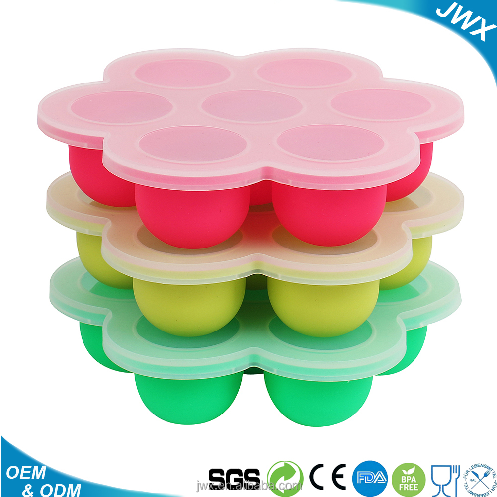 7 holes Flexible Baby Food Storage Freezer Container,Reusable Silicone Ice Cube Tray with Lid