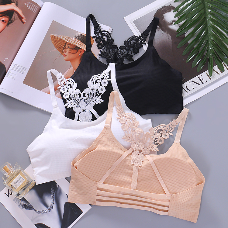 stylish breathable lace wrapped chest vest student girl  anti-lighting underwear no steel bottom sweet tube top camisole vest