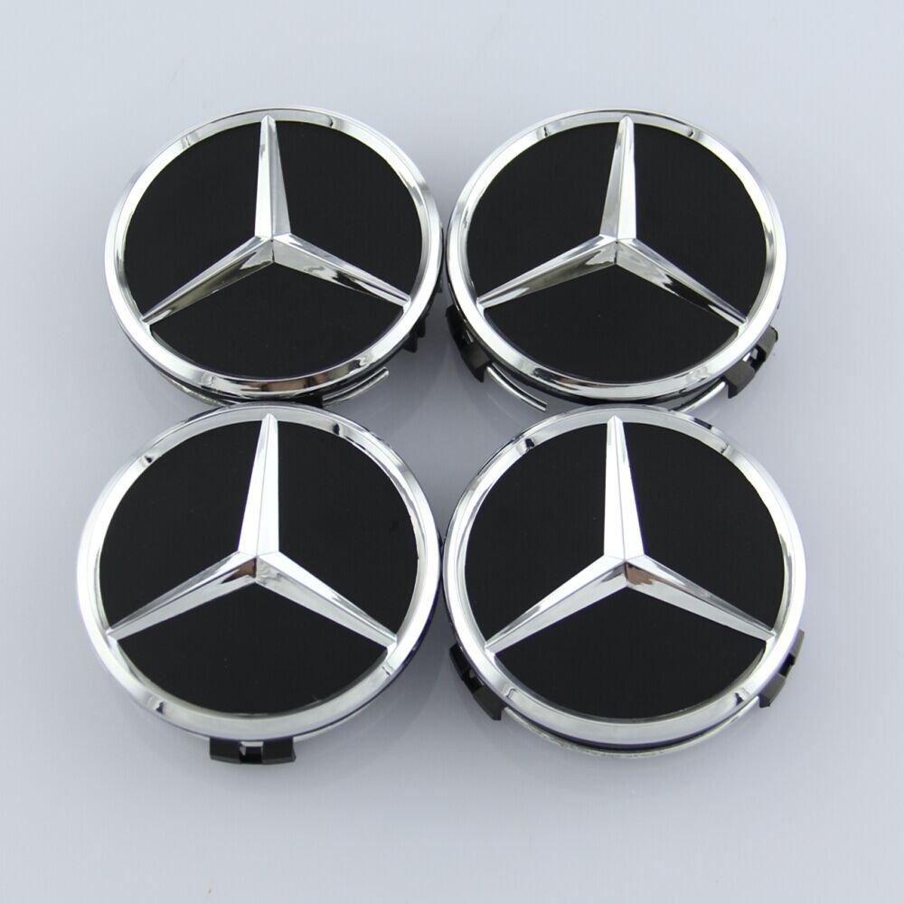 ZZHF1 Wheel Center Caps For Mercedes Benz 75mm - Raised Star Wheel Rim Insert Caps (Black)