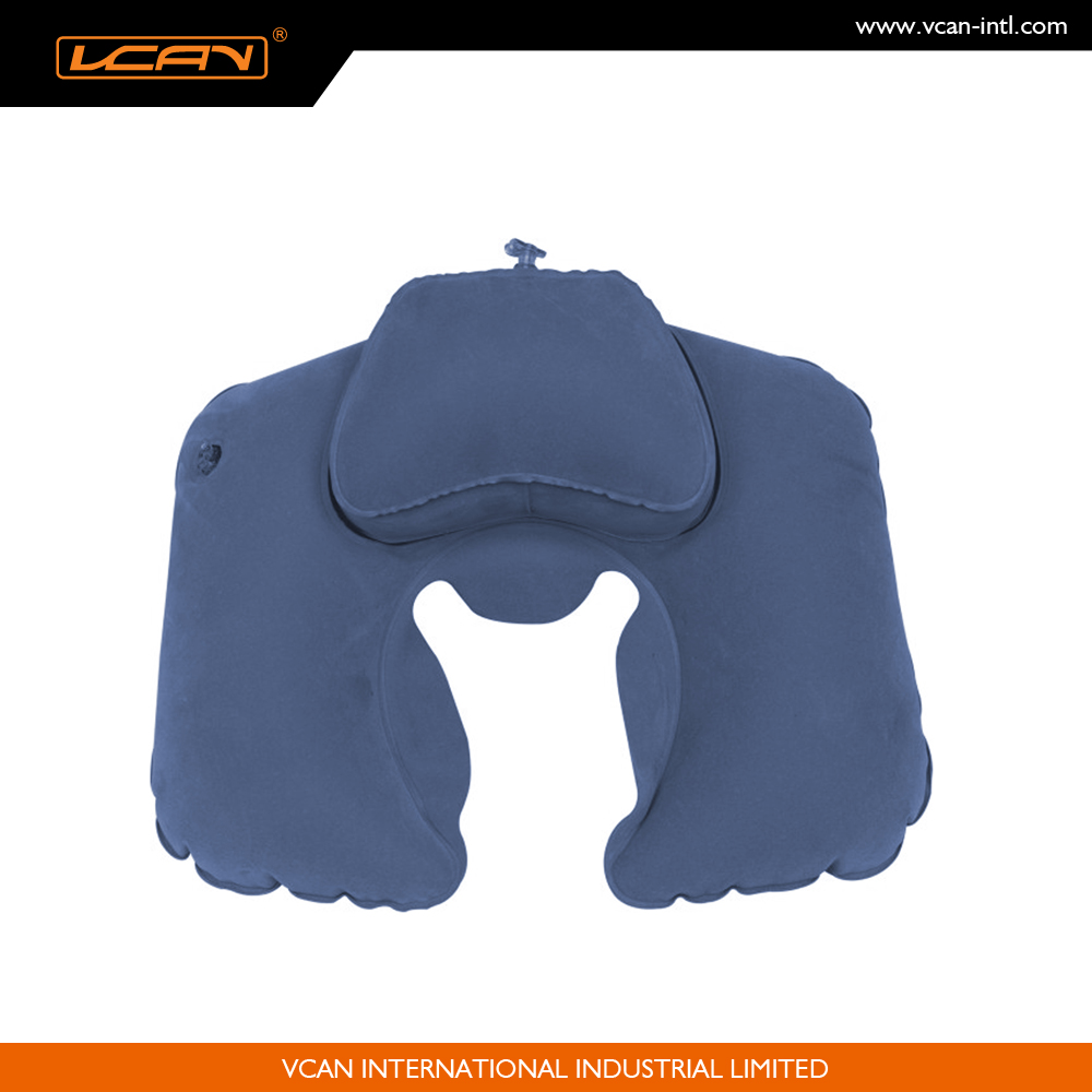 Customize company logo or brand airplane travel neck rest with head support flocking outcover easy carry inflatable neck pillow