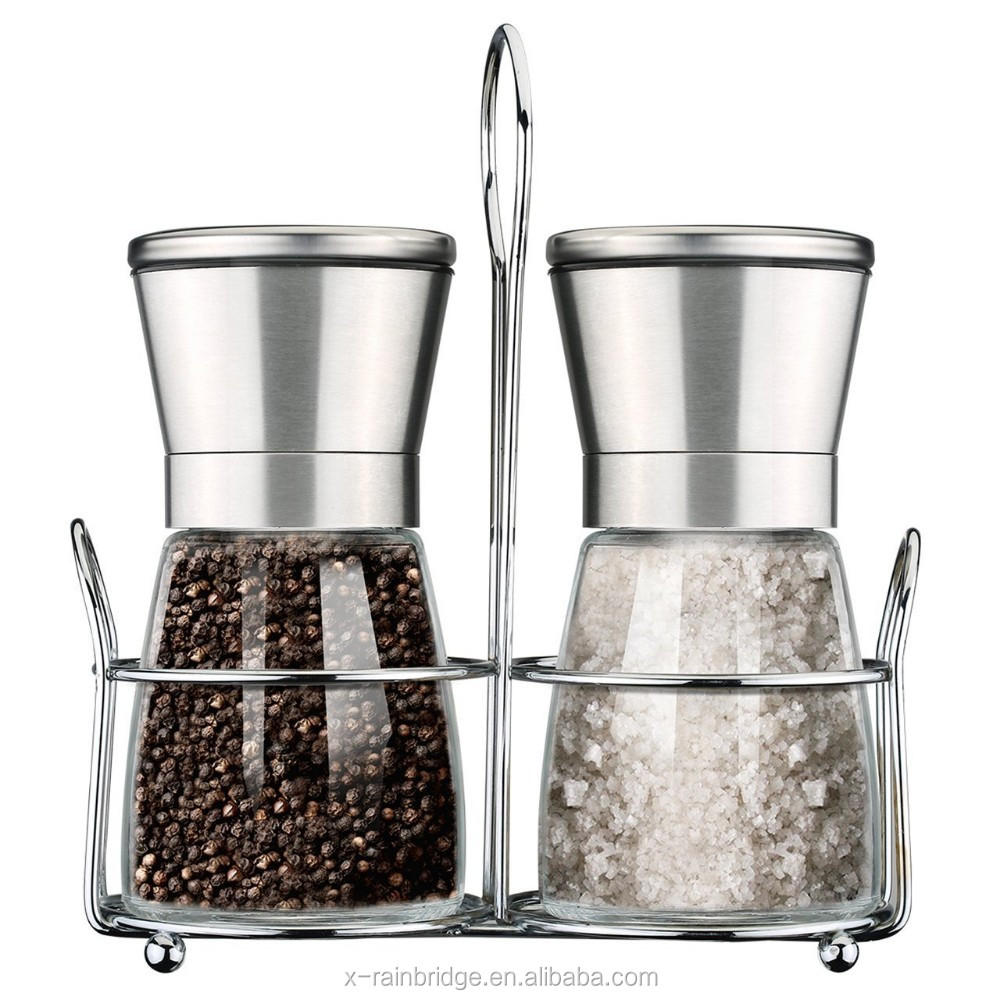 Premium Stainless Steel Salt and Pepper Grinder Set Adjustable Pepper Mill Salt Shakers Set of 2