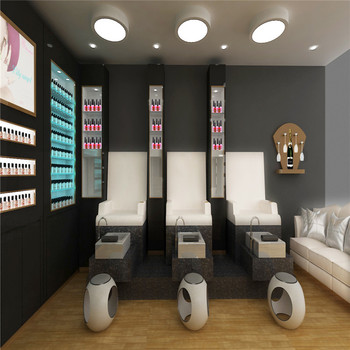 Beauty salon shop interior design wall display cabinet for Armoire salon design