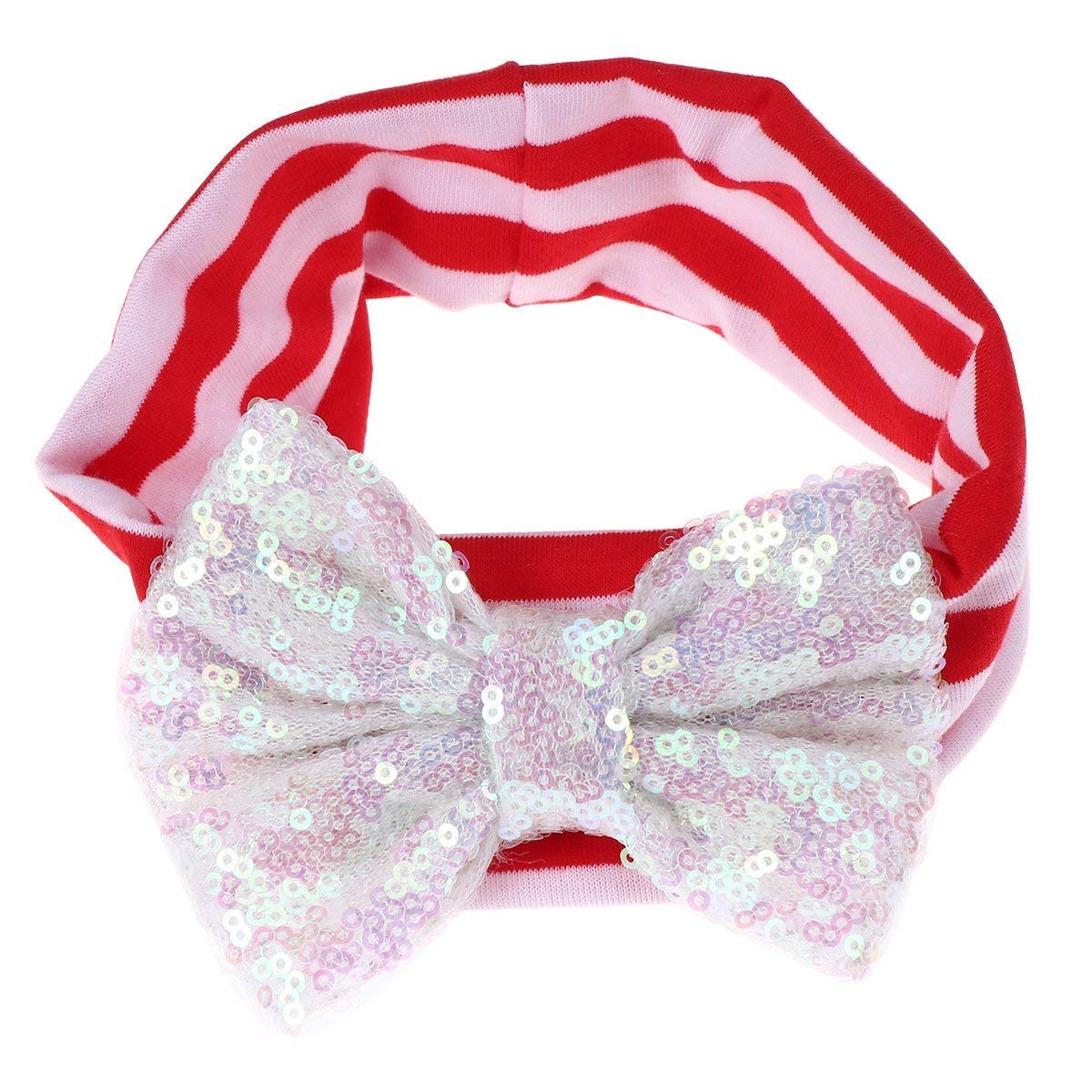 BESTOYARD Stripe Headbands Sequin Bowknot Turban Head Wrap Knotted Hairband for Baby Girl (White + Red White Stripes)