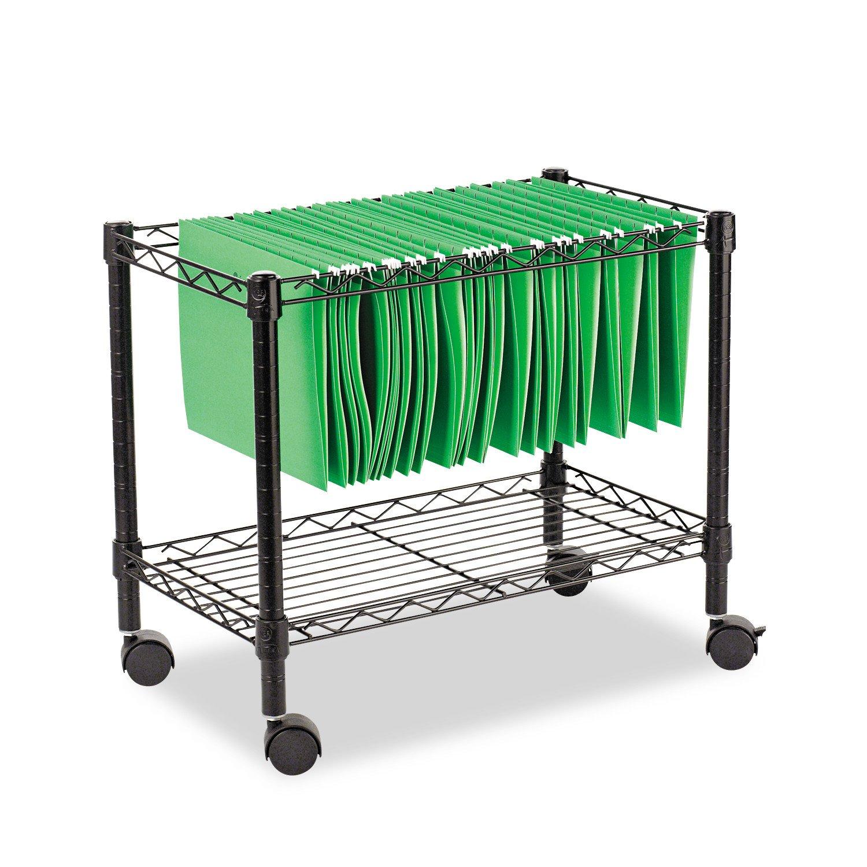 Alera ALEFW601424BL Single-Tier Rolling File Cart, 24w x 14d x 21h, Black