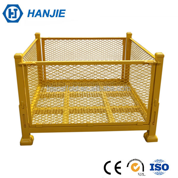 Industrial durable stacking container metal pallet cages for sale